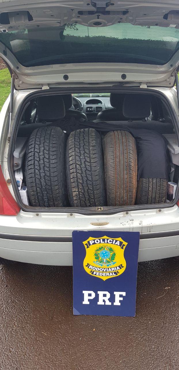 PRF realiza perseguição e apreende carro carregado com pneus - CGN
